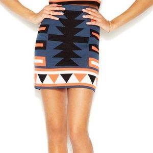 Rachel by Rachel Roy Tribal print fitted skirt L